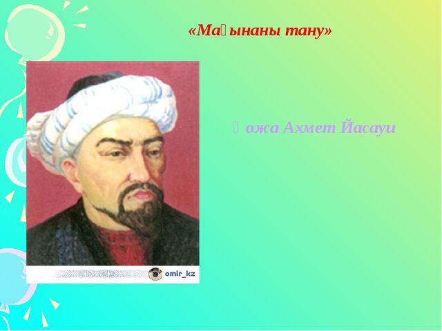 «Мағынаны тану» Қожа Ахмет Йасауи
