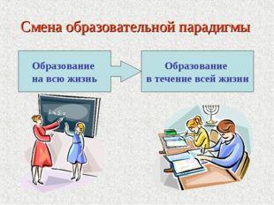 Смена образовательной парадигмы Образование на всю жизнь Образование в течени