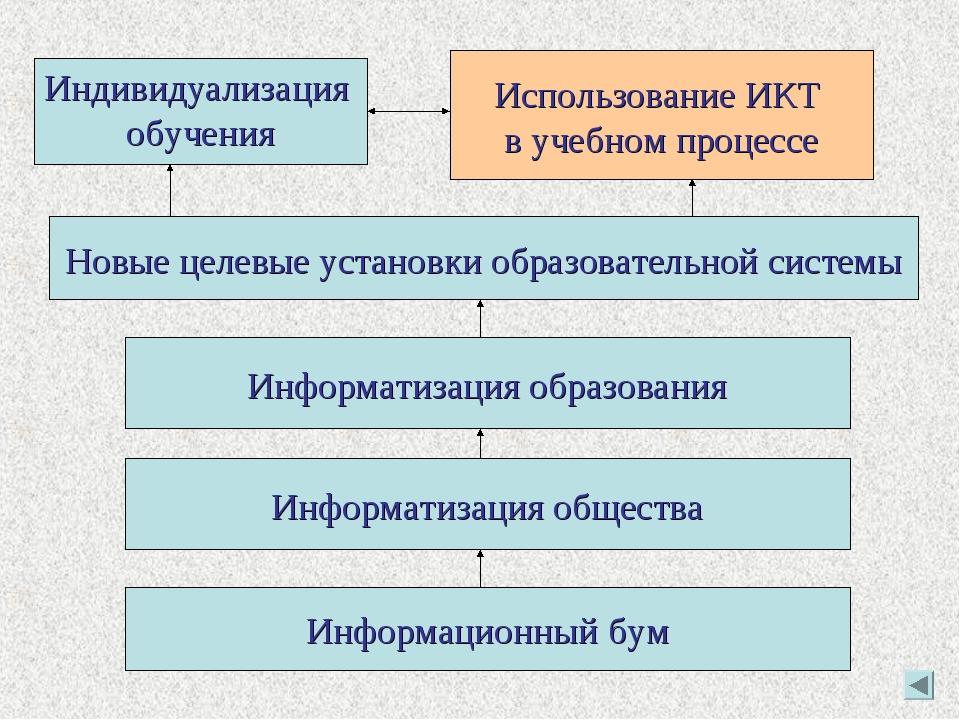 Информационный бум Информатизация общества Информатизация образования Новые ц...