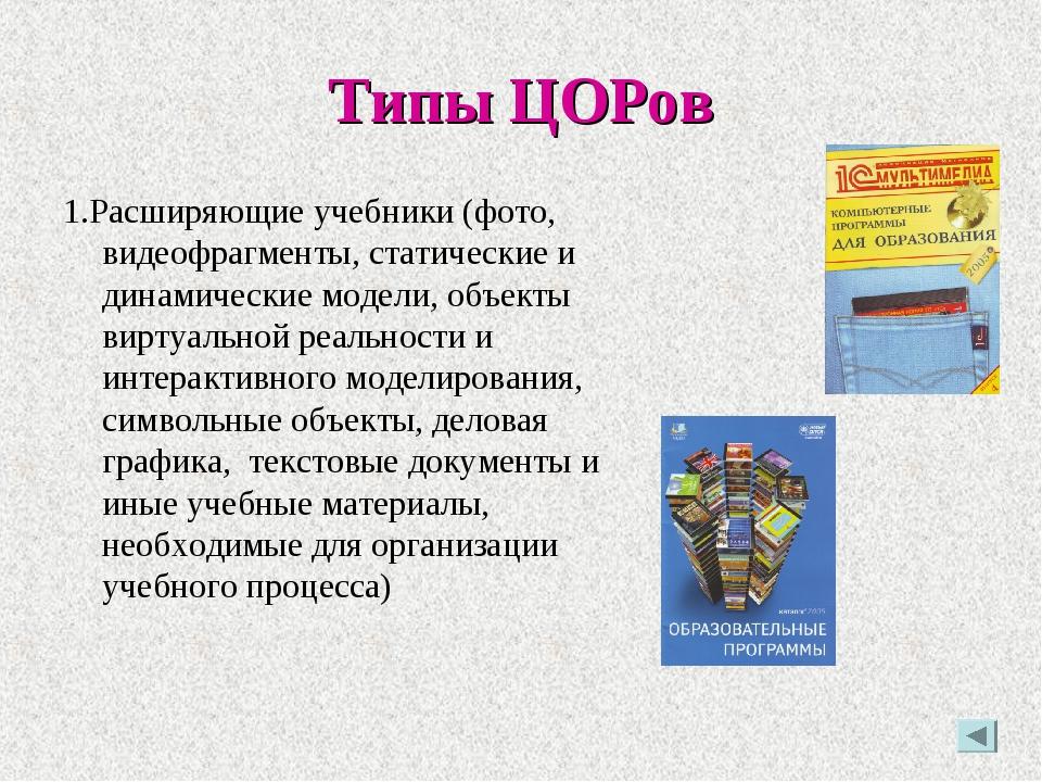 Типы ЦОРов 1.Расширяющие учебники (фото, видеофрагменты, статические и динами...