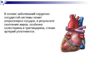 В основе заболеваний сердечно-сосудистой системы лежит атеросклероз сосудов,