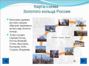 Карта-схема Золотого кольца России Несколько древних русских городов образуют