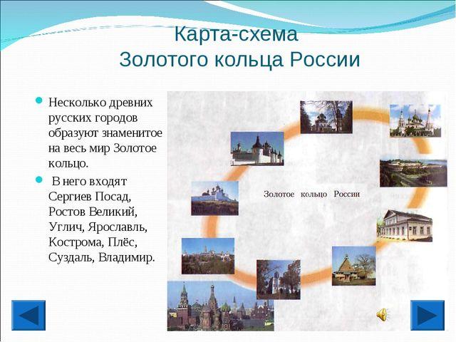 Карта-схема Золотого кольца России Несколько древних русских городов образуют...