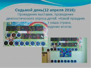 Седьмой день(12 апреля 2016): Проведение выставки, проведение диагностическог