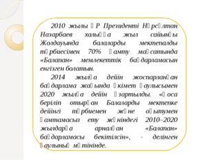 2010 жылы ҚР Президенті Нұрсұлтан Назарбаев халыққа жыл сайынғы Жолдауында