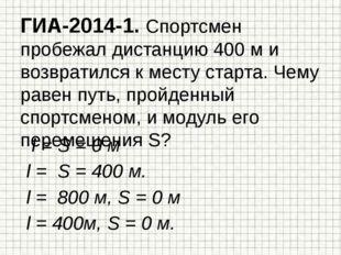 ГИА-2014-1. Спортсмен пробежал дистанцию 400 м и возвратился к месту старта.