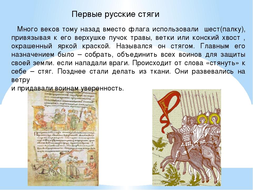 Первые русские стяги Много веков тому назад вместо флага использовали шест(п...