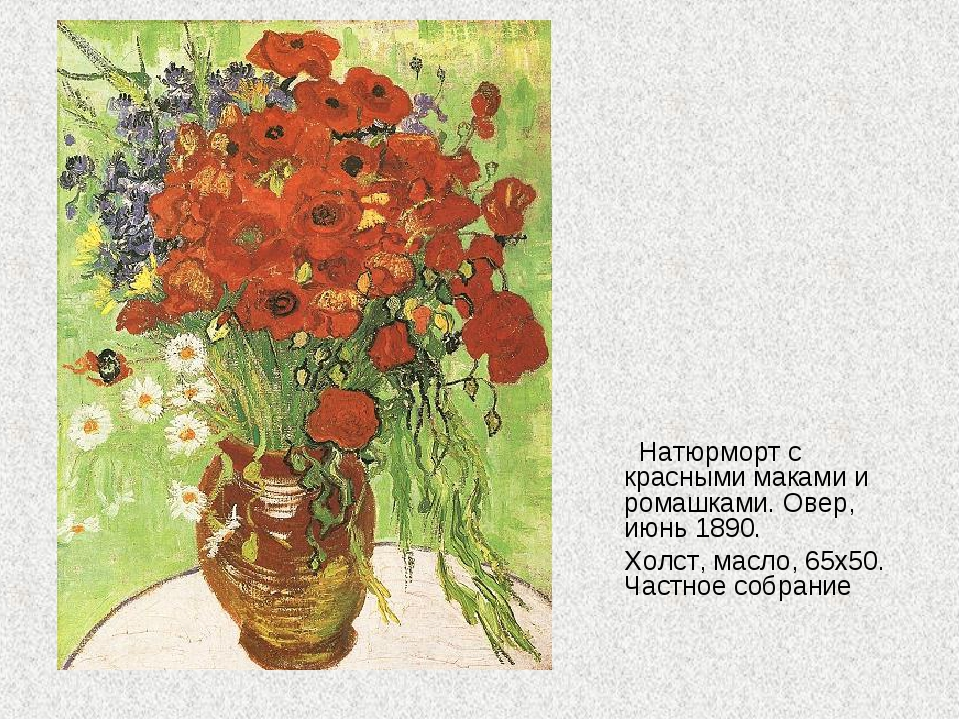 Натюрморт с красными маками и ромашками. Овер, июнь 1890. Холст, масло, 65х5...