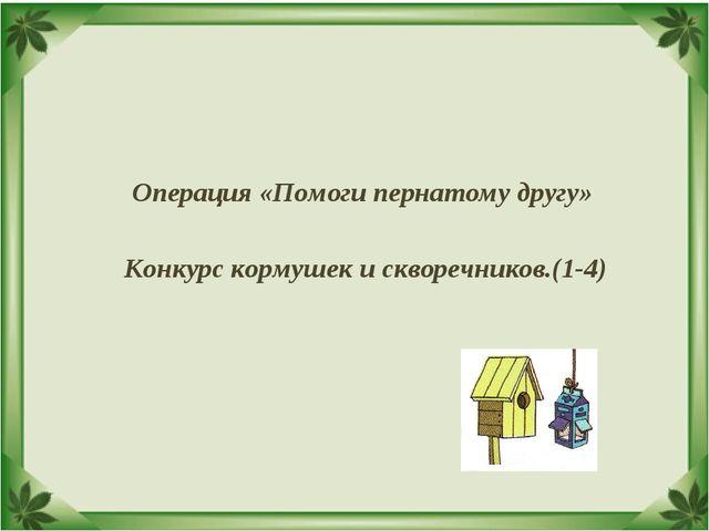 Операция «Помоги пернатому другу» Конкурс кормушек и скворечников.(1-4)