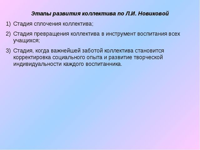 Этапы развития коллектива по Л.И. Новиковой Стадия сплочения коллектива; Стад...