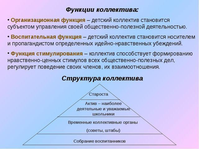 Функции коллектива: Организационная функция – детский коллектив становится су...