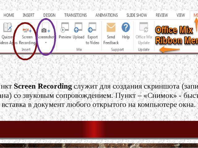 Пункт Screen Recording служит для создания скриншота (записи экрана) со звуко...