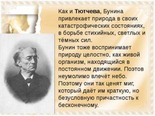 Как и Тютчева, Бунина привлекает природа в своих катастрофических состояниях