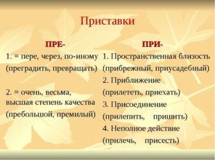 Приставки ПРЕ- 1. = пере, через, по-иному (преградить, превращать) 2. = очень