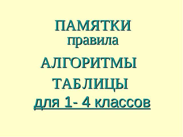 ПАМЯТКИ правила АЛГОРИТМЫ ТАБЛИЦЫ для 1- 4 классов