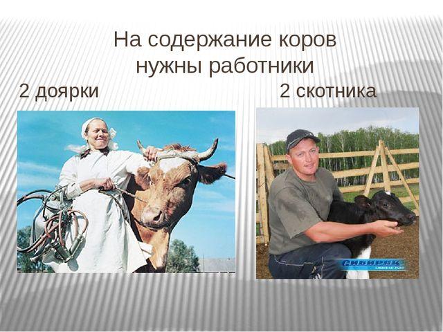 На содержание коров нужны работники 2 доярки 2 скотника