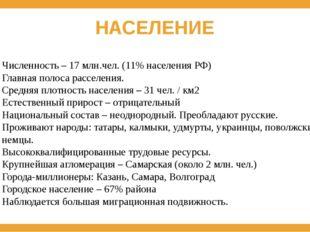 НАСЕЛЕНИЕ Численность – 17 млн.чел. (11% населения РФ) Главная полоса расселе