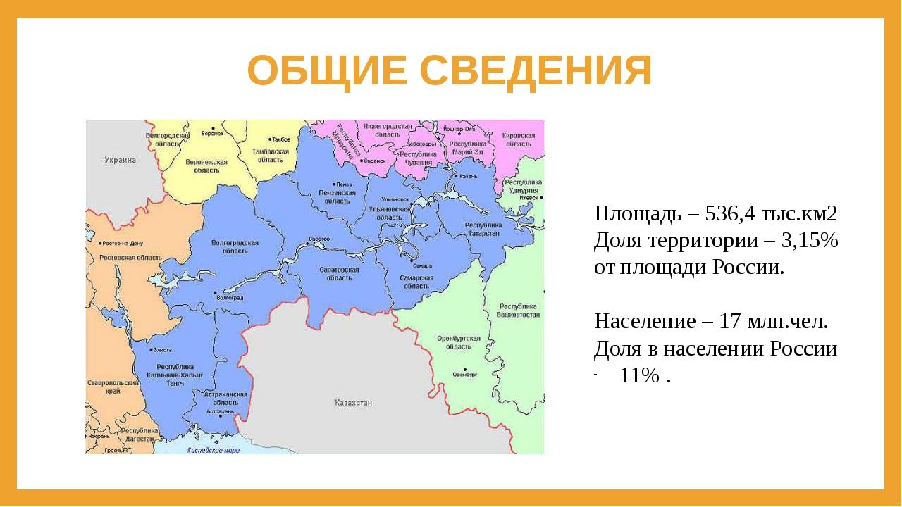 ОБЩИЕ СВЕДЕНИЯ Площадь – 536,4 тыс.км2 Доля территории – 3,15% от площади Рос...