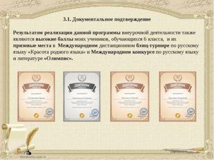 3.1. Документальное подтверждение Результатом реализации данной программы вне