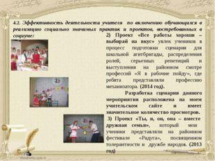 4.2. Эффективность деятельности учителя по включению обучающихся в реализацию