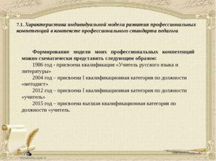 7.1. Характеристика индивидуальной модели развития профессиональных компетенц