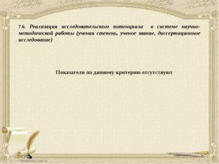 7.6. Реализация исследовательского потенциала в системе научно-методической р