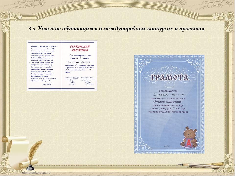 3.5. Участие обучающихся в международных конкурсах и проектах