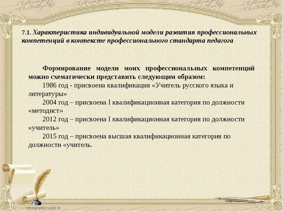 7.1. Характеристика индивидуальной модели развития профессиональных компетенц...