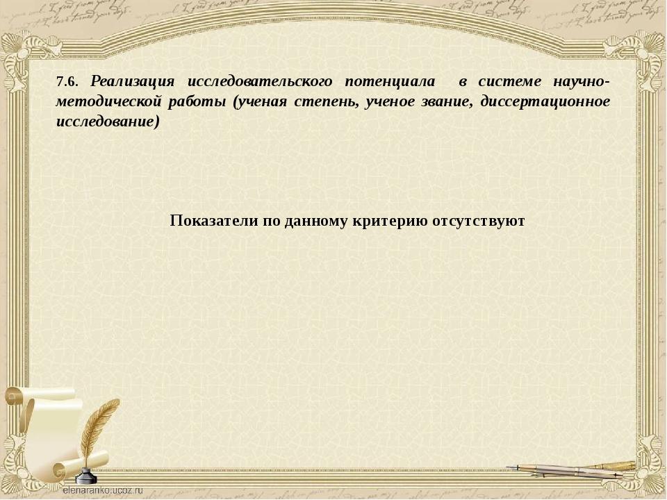 7.6. Реализация исследовательского потенциала в системе научно-методической р...
