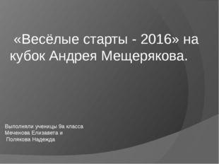 «Весёлые старты - 2016» на кубок Андрея Мещерякова. Выполняли ученицы 9а кла