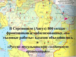 В Сергиополе (Аягуз) 800 солдат-фронтовиков и мобилизованных «на тыловые рабо