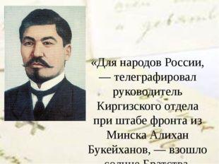 «Для народов России, — телеграфировал руководитель Киргизского отдела при шта