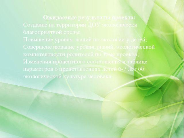 Ожидаемые результаты проекта: Создание на территории ДОУ экологически благоп...