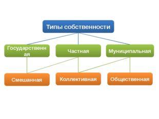 Типы собственности Государственная Частная Муниципальная Смешанная Коллективн