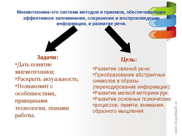 Мнемотехника-это система методов и приемов, обеспечивающее эффективное запом...