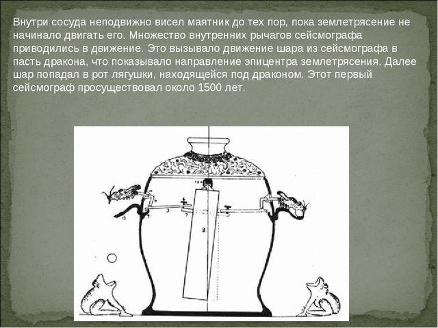 Внутри сосуда неподвижно висел маятник до тех пор, пока землетрясение не начи...