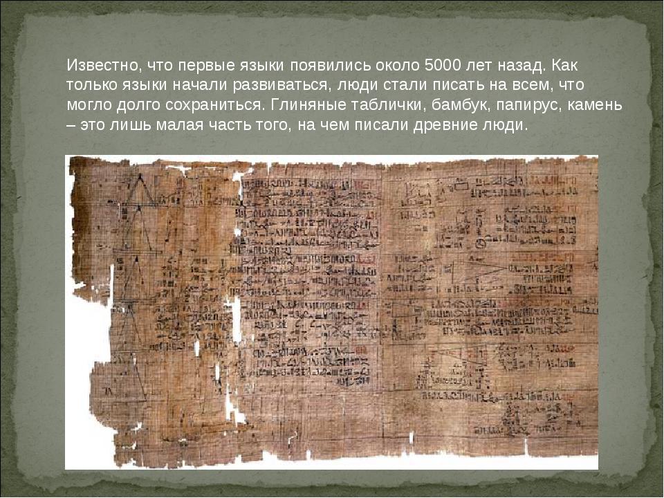 Известно, что первые языки появились около 5000 лет назад. Как только языки н...