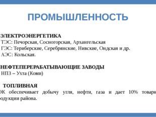 ПРОМЫШЛЕННОСТЬ 3. ЭЛЕКТРОЭНЕРГЕТИКА ТЭС: Печорская, Сосногорская, Архангельск