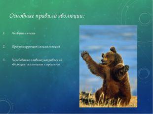 Основные правила эволюции: Необратимость Прогрессирующая специализация Чередо