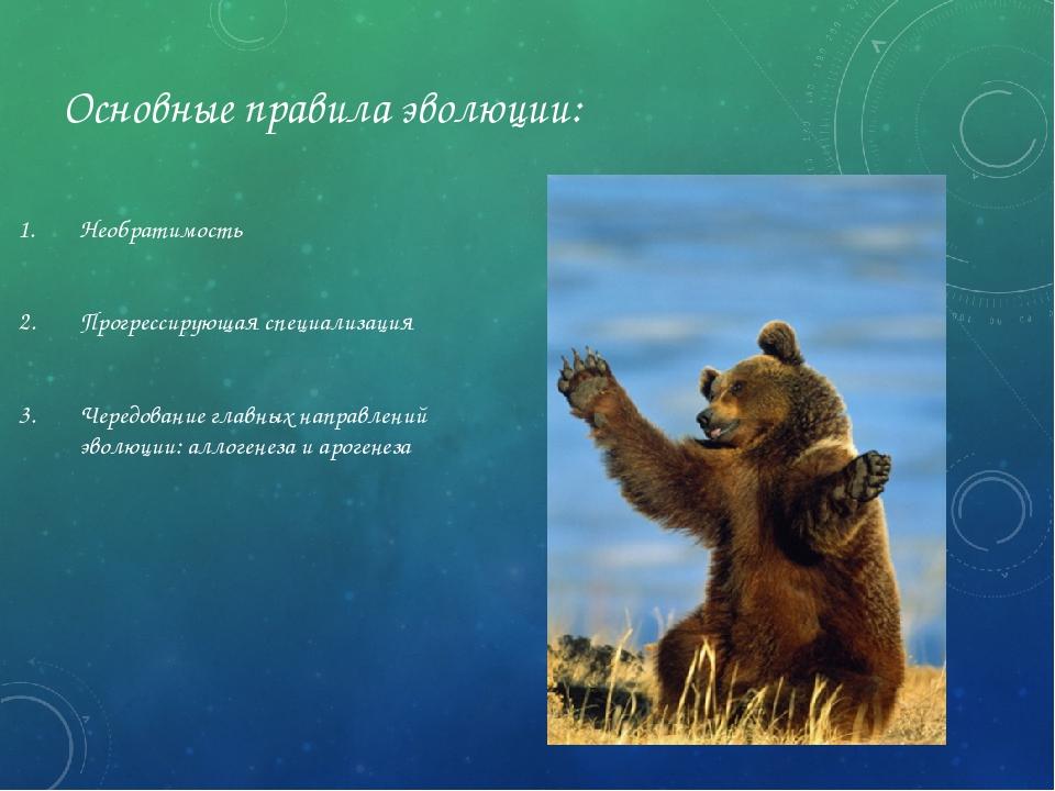 Основные правила эволюции: Необратимость Прогрессирующая специализация Чередо...