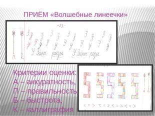 Критерии оценки: А – аккуратность, П – правильность, Б – быстрота, К – каллиг
