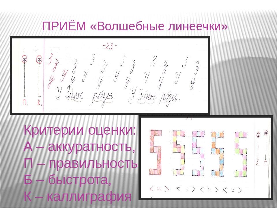 Критерии оценки: А – аккуратность, П – правильность, Б – быстрота, К – каллиг...