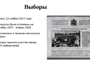 Выборы Начались 12 ноября 1917 года В 12 округах были отложены на декабрь 191