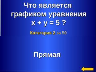 * Что является графиком уравнения х + у = 5 ? Прямая Категория 2 за 50