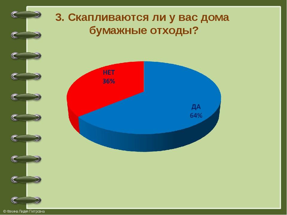 3. Скапливаются ли у вас дома бумажные отходы? © Фокина Лидия Петровна