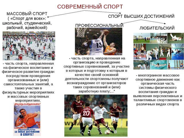 СОВРЕМЕННЫЙ СПОРТ МАССОВЫЙ СПОРТ ( «Спорт для всех»: школьный, студенческий,...