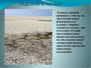 Ледники и почвы Площадь ледников превышает 2 млн кв. км. Арктические почвы фо