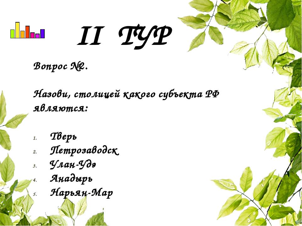 II ТУР Вопрос №2. Назови, столицей какого субъекта РФ являются: Тверь Петроза...