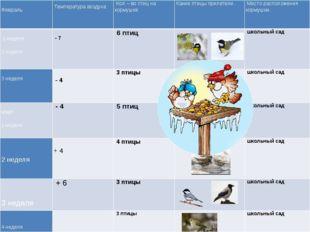 Февраль    Температура воздуха Кол – во птиц на кормушке Какие птицы