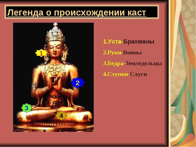 Легенда о происхождении каст 1.Уста-Брахманы 2.Руки-Воины 3.Бедра-Земледельцы...